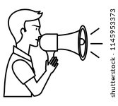 man talking with megaphone sound | Shutterstock .eps vector #1145953373