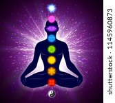 meditating human in lotus pose. ... | Shutterstock .eps vector #1145960873