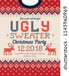 ugly sweater christmas party... | Shutterstock .eps vector #1145960969