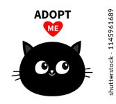 black cat round face silhouette.... | Shutterstock .eps vector #1145961689