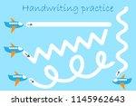 handwriting practice sheet ... | Shutterstock .eps vector #1145962643
