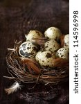Quail eggs and feathers in a nest on an old wooden board. - stock photo
