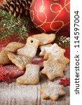 Homemade christmas gingerbread cookies and christmas decoration. - stock photo