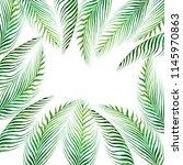 watercolor frame tropical... | Shutterstock . vector #1145970863