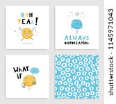 set of funny card templates. ... | Shutterstock .eps vector #1145971043