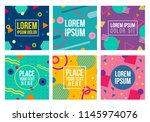memphis style cards. collection ... | Shutterstock .eps vector #1145974076