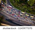 rush hour traffic jam aerial...   Shutterstock . vector #1145977370