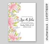 autumn floral wedding... | Shutterstock .eps vector #1145978009