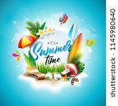 summer time holiday typographic ... | Shutterstock . vector #1145980640