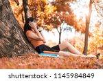 asian beauty woman listen to... | Shutterstock . vector #1145984849