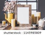 wedding  wood frame mockup on... | Shutterstock . vector #1145985809