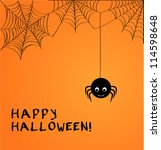 cute spider and webs over... | Shutterstock .eps vector #114598648