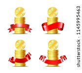 set of stacked of coins with... | Shutterstock . vector #1145995463