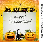 black cats halloween background.... | Shutterstock .eps vector #114599608