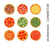 set of pizza with different... | Shutterstock .eps vector #1146007130