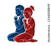 boy and girl pray together ... | Shutterstock .eps vector #1146008849