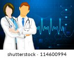 illustration of male and female doctor on medical background - stock vector