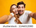 portrait closeup of joyful man... | Shutterstock . vector #1146012080