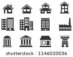 flat building and home black... | Shutterstock .eps vector #1146020036