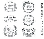 floral round frame for wedding... | Shutterstock .eps vector #1146020060
