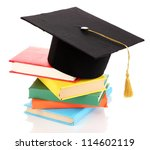 grad hat with books isolated on ... | Shutterstock . vector #114602119