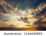 beautiful stormy sunset sky....   Shutterstock . vector #1146030893