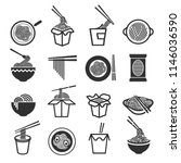 instant noodles icon set.... | Shutterstock .eps vector #1146036590