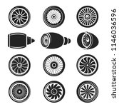 airplane turbine icon set. gas... | Shutterstock .eps vector #1146036596