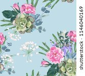 delicate pattern of dog roses... | Shutterstock .eps vector #1146040169