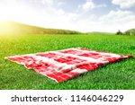 summer photo of empty blanket... | Shutterstock . vector #1146046229