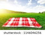 summer photo of empty blanket... | Shutterstock . vector #1146046256