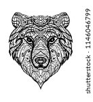 bear head    ornate abstract... | Shutterstock . vector #1146046799