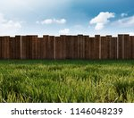 garden with gras and wooden... | Shutterstock . vector #1146048239
