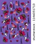 flamingo skull flower graphic... | Shutterstock .eps vector #1146051713