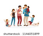 big family with many children.... | Shutterstock .eps vector #1146051899