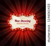 red frame with light bulbs on... | Shutterstock .eps vector #1146061433