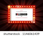 red frame with light bulbs on... | Shutterstock .eps vector #1146061439