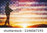 armed soldier with rifle... | Shutterstock . vector #1146067193