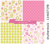 set seamless pattern flowers...   Shutterstock .eps vector #114607198