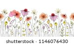 seamless floral border with... | Shutterstock .eps vector #1146076430