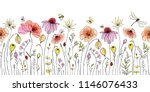 Seamless floral border with colorful wildflowers, poppies, butterflies, bees, dragonfly and ladybugs. Vector horizontal pattern on white background. Hand drawn illustration.