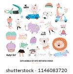 cute funny animals and... | Shutterstock .eps vector #1146083720