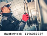caucasian worker and the alloy...   Shutterstock . vector #1146089369