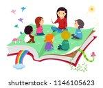 illustration of stickman kids... | Shutterstock .eps vector #1146105623
