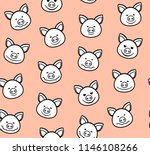 the white faces of the pigs... | Shutterstock .eps vector #1146108266