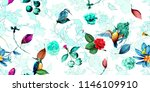 wide seamless floral pattern.... | Shutterstock .eps vector #1146109910
