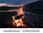 firewood on night nature | Shutterstock . vector #1146116540