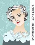 vintage lady portrait. vector... | Shutterstock .eps vector #114612076