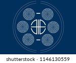 asian pattern in the blue... | Shutterstock .eps vector #1146130559