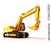 Small photo of Excavator on a white background, with reflection and shadow